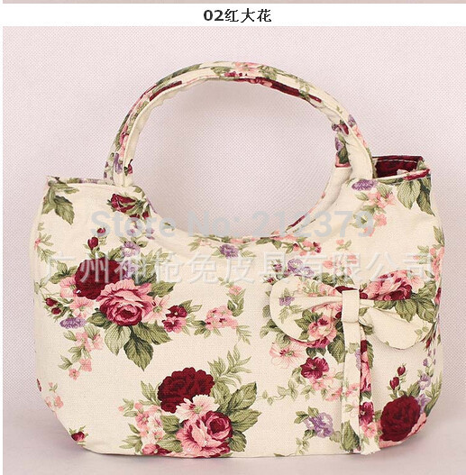 1 piece Floral flowers Cute Bow Tie Small canvas bag women's lunch handbag portable handbag tote messenger 7 colors available(China (Mainland))