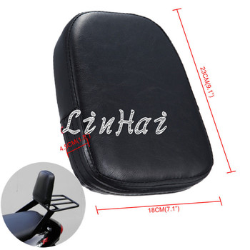 Black Rectangular Backrest Sissy Bar Cushion Pad Fit For Harley Kawasaki Suzuki Honda BMW