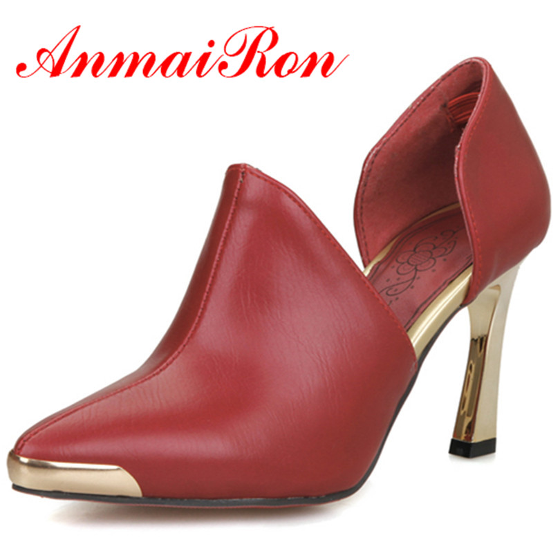 ANMAIRON Fashion Pointed Toe New Spring and Autumn High Heels Women Shoes 3Colors Sexy Red Shoes Wedding Party Pumps Woman Shoes<br><br>Aliexpress