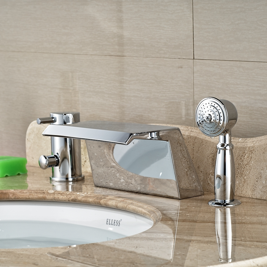 deck mounted chrome brass square waterfall bathroom tub faucet