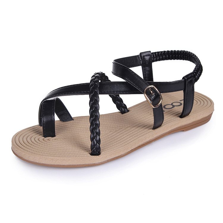 New 2015 vintage summer flat sandals triangle metal women's shoes belt clip flip-flop shoes and bags black and white 1058(China (Mainland))