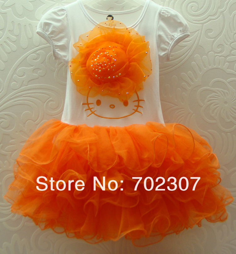 wholesale  hot selling 2013 new hello kitty dress ,Girl flower tutu  Dresses,Free Shipping 5 pcs/lot 2279<br><br>Aliexpress