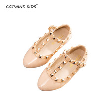 2016 new spring girls brand shoes for baby stud shoes children nude sandals toddler summer shoes black white flats party shoe(China (Mainland))