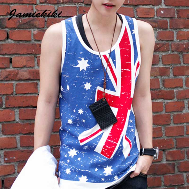 2016 Men's Hip Hop Streetwear Tank Tops Fashion Flag Printed Vest Man Football Jersey Cool Undershirts for Men's Gym Sportswear(China (Mainland))