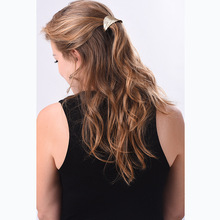 Metal Ponytail Holder with double leaf shape barrettes women hair accessories for a half-up hairstyle