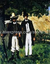 Paul Cezanne Two Men Impressionist paints hand painted home interior wall art wave art decor paintings modern High quali(China (Mainland))