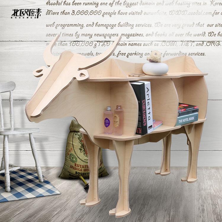 Scandinavian bovine animal mascot shelving creative shelves wooden ornaments home decorations,Nordic hotel restaurant decor(China (Mainland))
