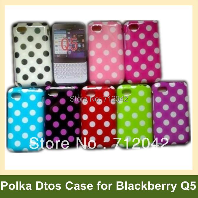 100pcs/lot Polka Dots Cover Case for Blackberry Q5 Soft TPU Cover Case for Blackberry Q5 DHL/EMS Free Shipping
