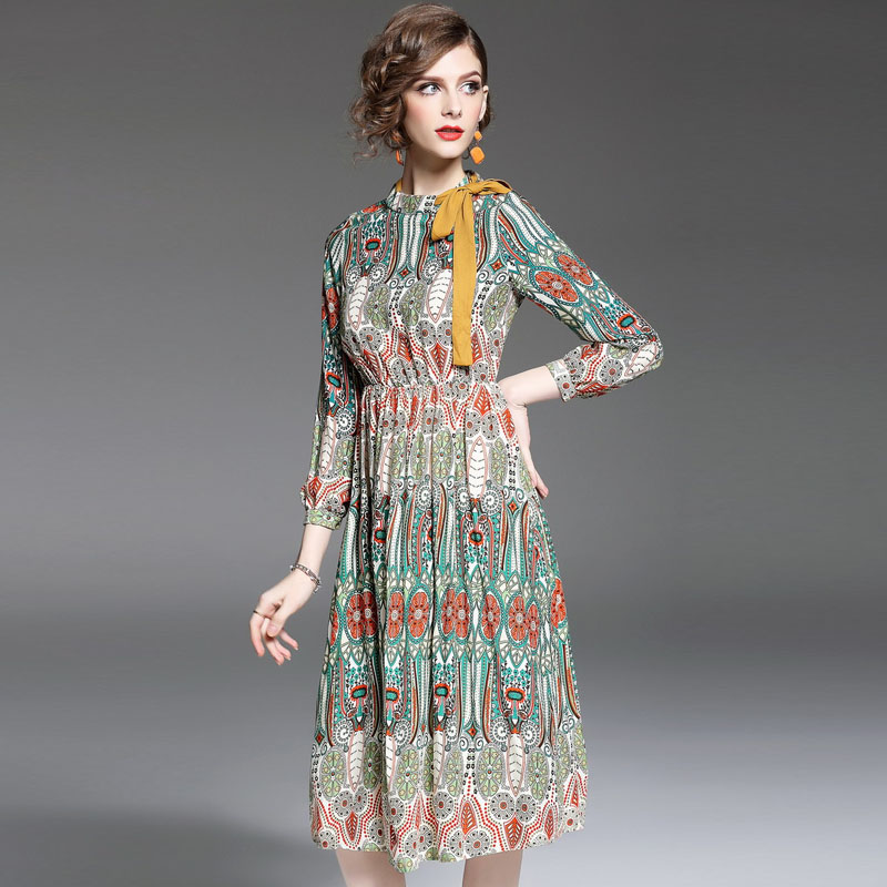 Popular Bohemian Long Sleeve Print Dress Print Dress-Buy Cheap ...