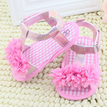 Summer Sandals Chic Baby Girl Floral Crib Soft Sole Antislip Cotton Shoes S01(China (Mainland))