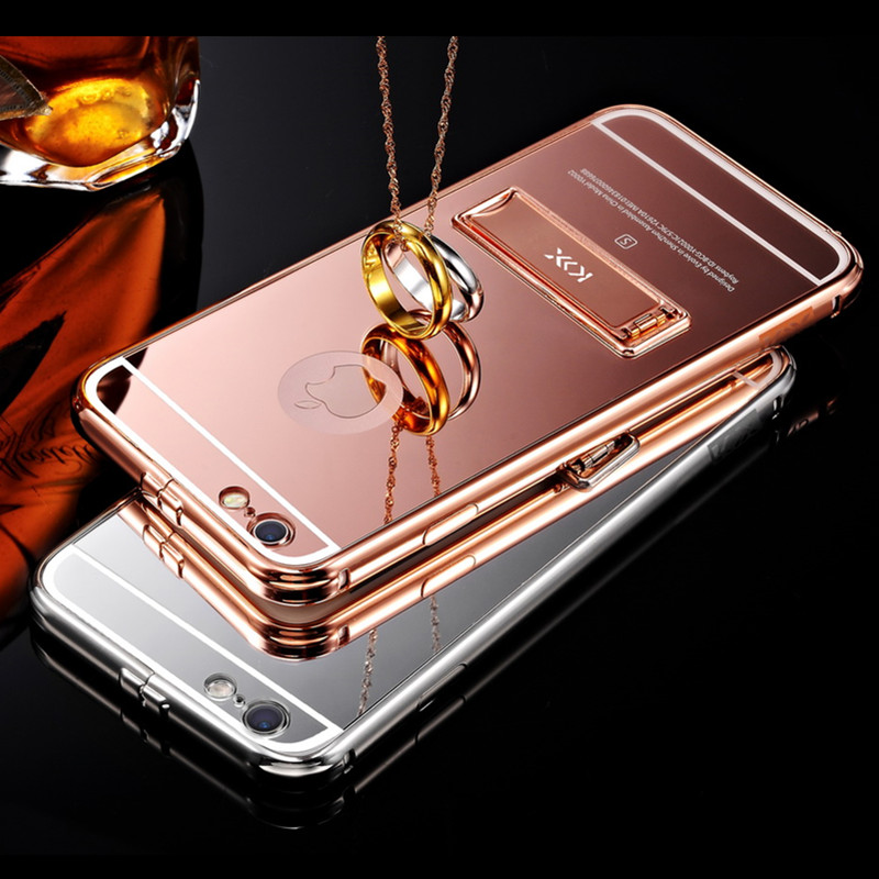 "6S 6 S 2016 New Arrival Metal Frame+PC Back Cover Coque For Iphone 6S 4.7"" Stand Case Aluminum Phone Cases(China (Mainland))"