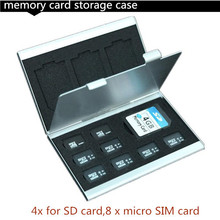 New Aluminum Micro for SD MMC TF Memory Card Storage Box Protecter Case 4x for SD card,8 x micro SIM card