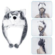 1pcs Soft Cartoon handmade Animal style Wolf Cute Fluffy Plush kids Hat Cap(China (Mainland))