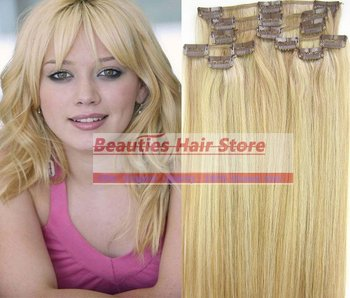 """free shipping 16"""" 18"""" 20"""" 22"""" 24"""" 26"""" 28"""" 8pcs #27/613 set soft indian remy clip in / on human hair extenions 120g 140g 160g"""