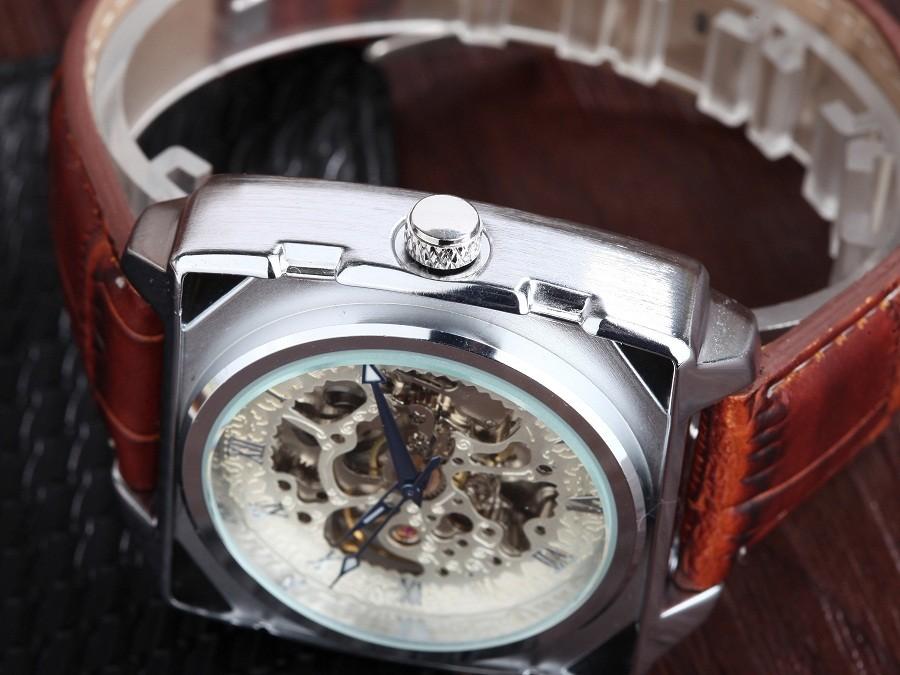 GOER марка мужские часы механическая Автоматическая Скелет Движения Световой Мужской кожаный водонепроницаемый Площади