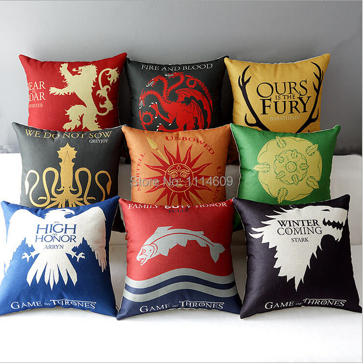 Game of Thrones Family House Home Car Office Decor Sofa Cushion Linen Pillow Cover Pillowcase(China (Mainland))