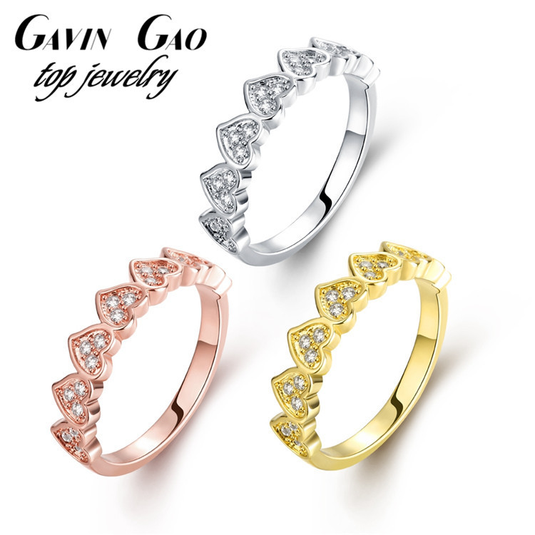 Top Quality 18K/Rose/White Gold Plated Romantic Heart Ring For Women/Girls With AAA+ Cubic Zirconia Wedding Rings Jewelry(China (Mainland))
