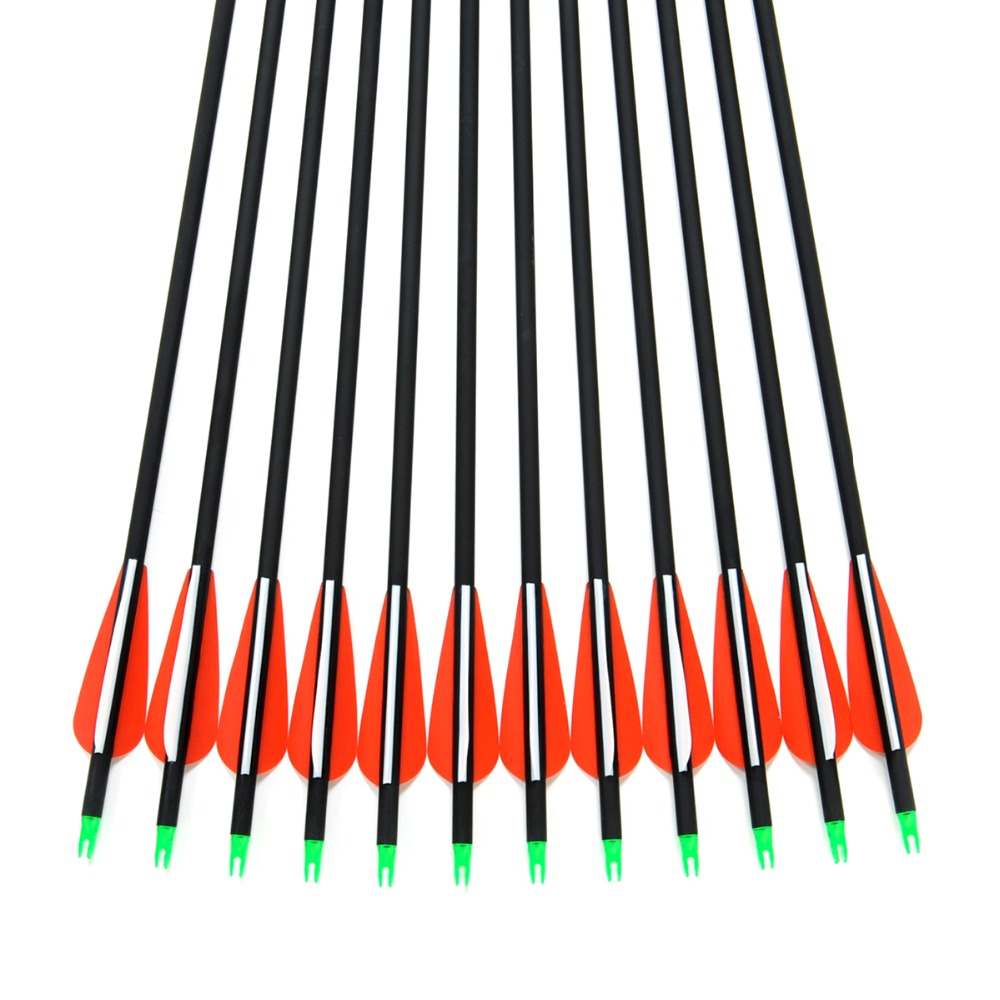 2015 New Carbon Arrow 12pcs 30 Archery Arrows Spine500 Changeable Arrowheads Plastic Feathers for Hunting Compound