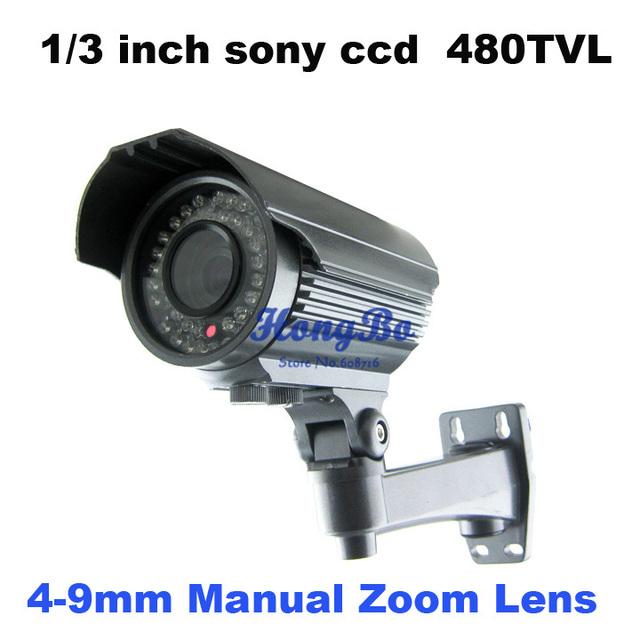 """Free shipping 1/3 """"son ccd 480TVLine 36IR night vision outdoor camera  Varifocal lens 4-9mm cctv camera"""