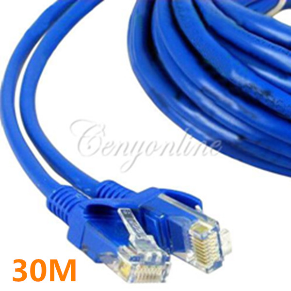 Blue 30M 100 FT RJ45 CAT5 CAT5E Ethernet LAN Network Net Working Cord Cable Sync Line M to M For Computer Laptop Free Shipping(China (Mainland))