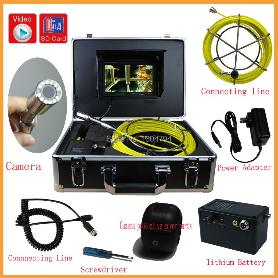 2015HOT! 30M Cable Pipe Inspection Camera Underwater Sewer Camera 800TVL 12 Lights With 7 Inch LCD Monitor with DVR Function(China (Mainland))