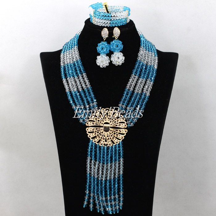 Sky Blue Handmade African Crystal Beaded Jewelry Set Clear White Nigerian Wedding Costume African Bridal Necklace Sets AIJ766(China (Mainland))