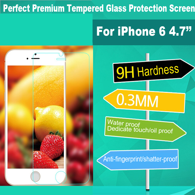 Free DHL Shipping 200pcs/lot Premium Tempered Glass Screen Protector For iPhone 6 without Colorful Retail Package(China (Mainland))