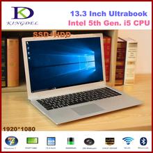 2016 New model 13.3 inch Core i5-5200U Dual Core Mini ultrabook laptop, 8GB RAM 128GB SSD, WIFI, Bluetooth,Metal Case,Windows 10
