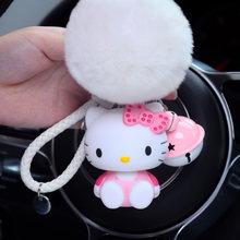Bonito Dos Desenhos Animados Olá Kitty Coelho Bola De Pêlo PomPom Pom Poms Alça de Correntes de Metal Anel Chave Do Carro Chaveiro de Couro Das Mulheres Saco encanto D35B(China)