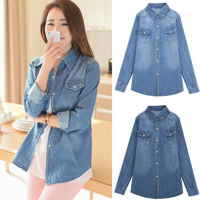New vintage womens ladies blue denim chambray boyfriend for Blue chambray shirt women s