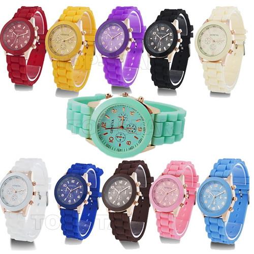 Здесь можно купить  UPS/DHL Free Shipping,Hot Sales Fashion Geneva Silicone Stone Watches,100Pcs/Lot,Good Quality and Nice Styles Geneva Watch  Ювелирные изделия и часы