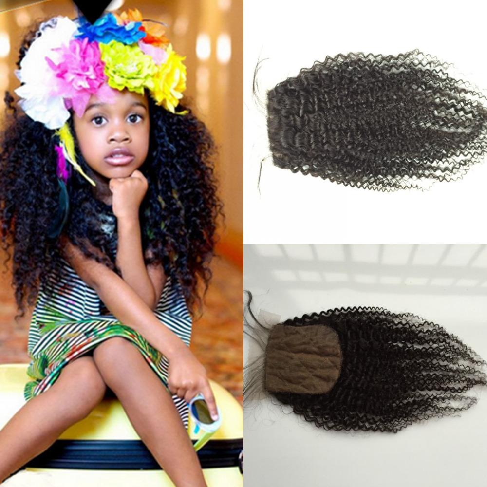 Cheap Hair Silk Closure Malaysian Kinky Curly Silk Top Closure Afro Kinky Curly Silk Base Closure Bleached Knots