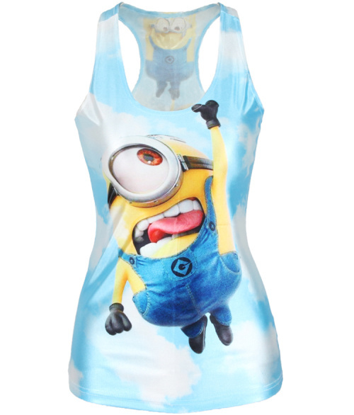 V-143 New 2015 Despicable Me Print Minions Women t-shirt Stuart Fashion Blue Camisole Female Vest Sexy(China (Mainland))