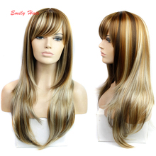 "26""  Synthetic Wigs Long Blonde Wig 280g Natural Heat Resistant Wavy Synthetic Wigs for Black Women Cosplay Wigs Freetress Hair(China (Mainland))"