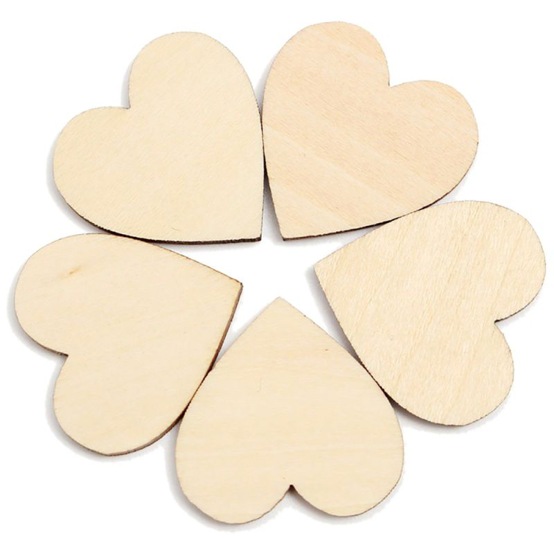 50Pcs Wooden Heart Shapes Embellishments Small Mini Shape for Craft Decoration(China (Mainland))