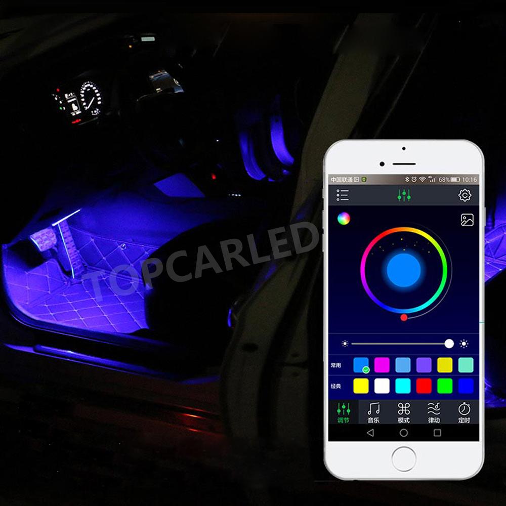 4Pcs 12V Car LED Strip RGB Light 5050 SMD Car Auto Remote Control Decorative Flexible LED Strip Android iOS Phone APP Control
