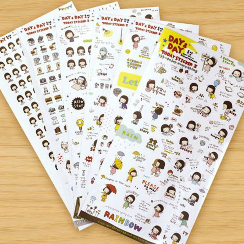 Гаджет  (1Lot=6Pcs) Korean Kawaii Cute Girl Personal Diary Stickers Decoration For DIY Photo Album Scrapbook None Офисные и Школьные принадлежности