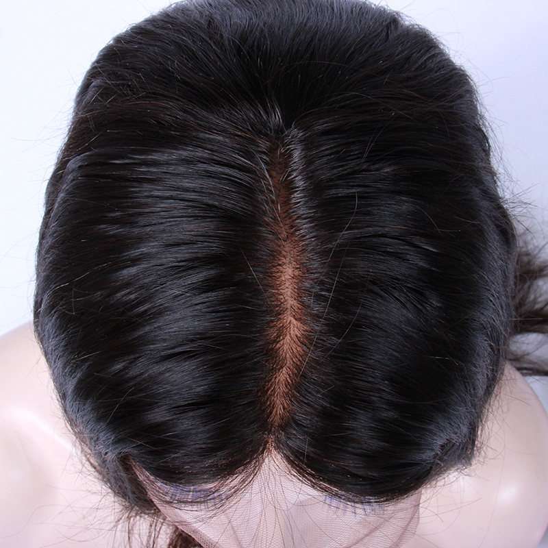 4*4 Silk Base 12 Inch Natural Stragiht Indian Remy Hair Silk Top Lace Front Wig(China (Mainland))