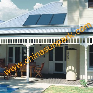 300L boiler+flat panel+pump station solar hot water heating system(China (Mainland))