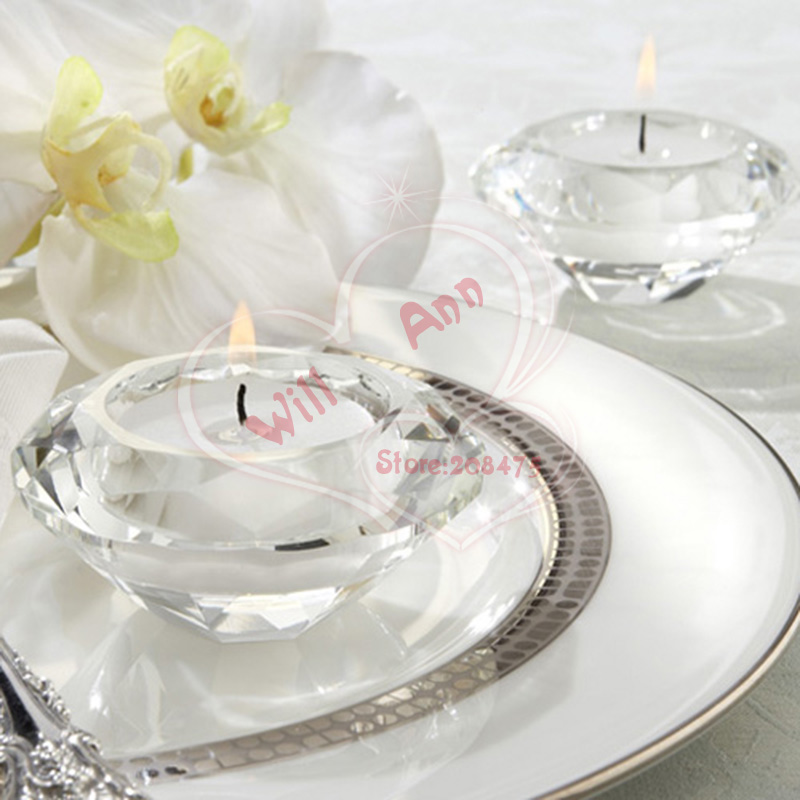 Free Shipping Wedding Gifts Crystal Diamond Shape Candle Holder for Table Decoration 2PCS/LOT(China (Mainland))