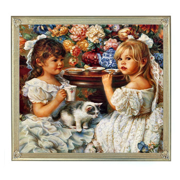 Needlework,DIY 14CT unprinted Cross stitch Embroidery Children and cat Counted White canvas Cross-Stitching hand