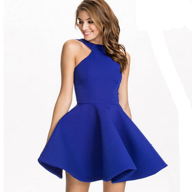 Vestidos mujer invierno 2016 Ladies Halter Party dress woman clothes blue black A-Line sexy slim express clothing feminino #3042(China (Mainland))