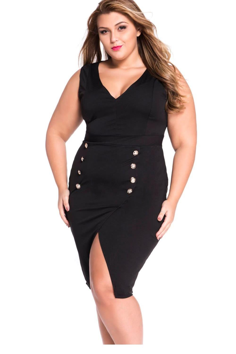 Bodycon Dresses 2016 Fashion Sring Autumn Style One Piece Casual Clothing Plus Size Military Gold Button Dress Black LC22640(China (Mainland))