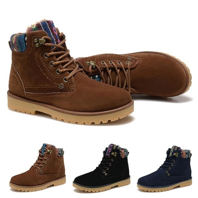 Новое поступление мода обувь из нубука кожаные теплый мех снегоступы мужчины свободного ...