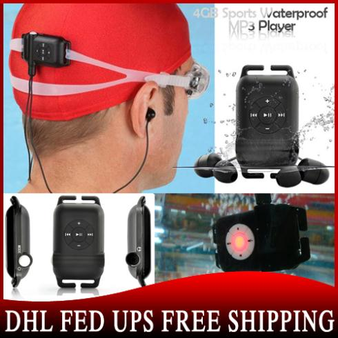 20pcs/lot Sport water resistance IPX8 4GB mp3 player swimming/diving/surfing factory price(China (Mainland))