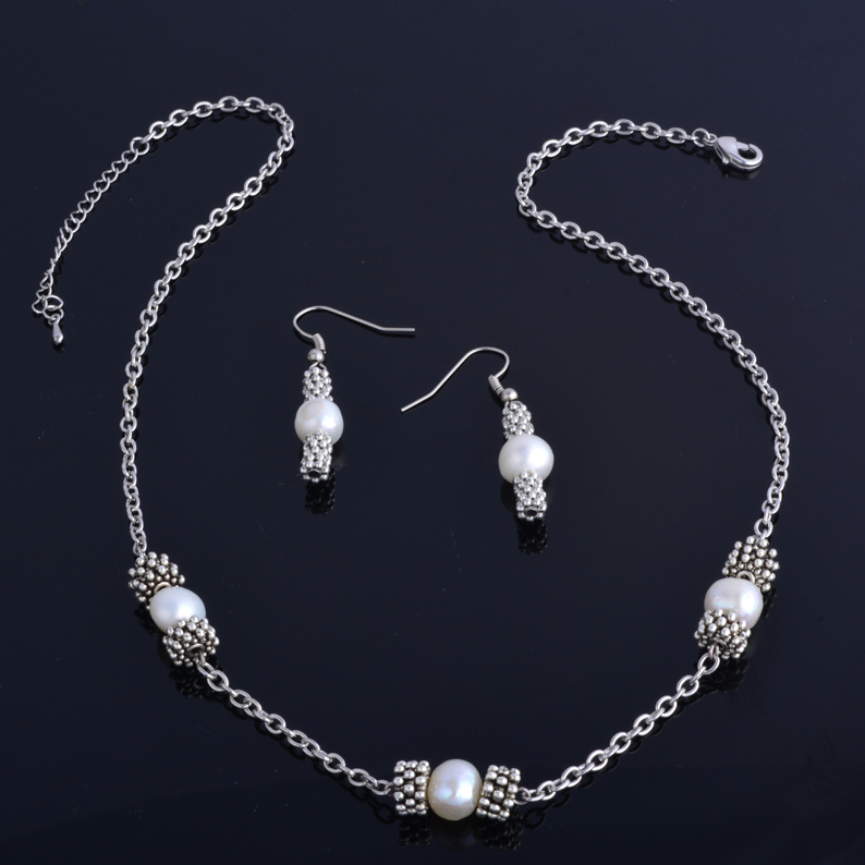 Original design(Nowadays Jewelry) natural freshwater pearl necklace set with antique silver plated jewelry set(China (Mainland))