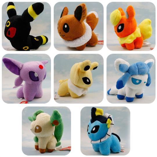 Pokemon Plush Peluche Toys Eevee 13cm Vaporeon Jolteon Flareon Espeon Umbreon Leafeon Glaceon Anime Kids Gifts Toys 1013(China (Mainland))