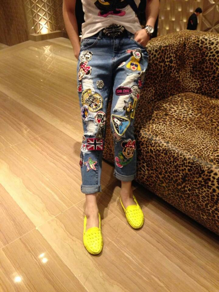 AQ200 Wild Girls Ripped Denim Jeans Individuality Handmade Sequined Pencil Pants High Waist  Holes Boyfriend Girl's Jeans