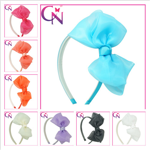 Newest Organza Hair Bow With Metal Hair Band For Girls Goody Headband Hairband WithTeeth Lovely Baby Girls Headband hair bow(China (Mainland))