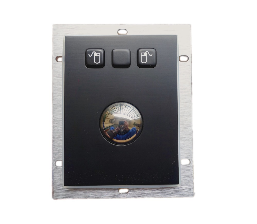 USB&PS2 Panel mount 38mm black coated metal Trackball Industrial Pointing Device with 3 mouse buttons left middle right function(China (Mainland))